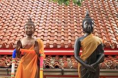 与姿态手样式的两个菩萨雕象 库存图片