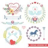 与婚礼项目的逗人喜爱的减速火箭的花卉集合 免版税库存图片