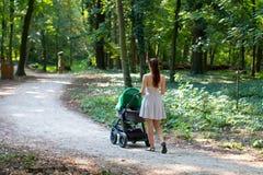 与婴儿推车的自然步行,美丽的礼服的年轻女性走在与她的婴孩的路的后面观点的摇篮车的 免版税库存照片