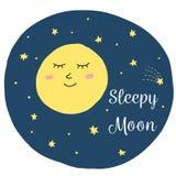 与婴孩睡觉月亮的逗人喜爱的传染媒介例证 皇族释放例证