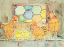 与婴孩鸡的鸡在他们的房子里 库存例证