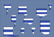 与孔和白色条纹的蓝色背景 免版税库存照片