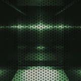 与孔的中立绿色铝表面 金属几何纹理背景 免版税库存图片