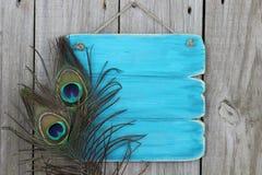 与孔雀羽毛的古色古香的蓝色标志 库存照片