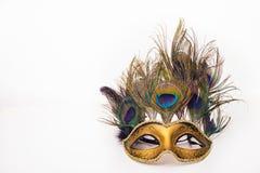 与孔雀羽毛的威尼斯式狂欢节面具 免版税库存照片