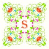 与字母S的花卉组合图案在白色 绿色 图库摄影
