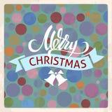 与字法和响铃的一方形的传染媒介圣诞卡片 背景蓝色圈子向量 邀请或飞行物设计 库存例证