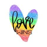与字法和彩虹心脏的概念性海报 向量例证