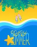 与字法和触发器的海报夏天热带海滩 库存例证