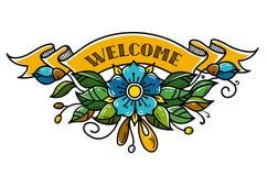 与字法欢迎的金丝带 用花装饰的丝带,叶子,芽 背景查出的白色 库存例证