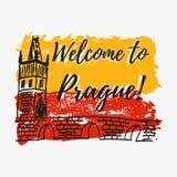 与字法的印刷品关于布拉格 向量例证
