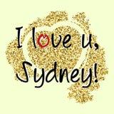 与字法的印刷品关于悉尼 图库摄影