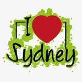 与字法的印刷品我爱悉尼 库存图片