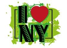 与字法的印刷品我爱NY 免版税库存图片