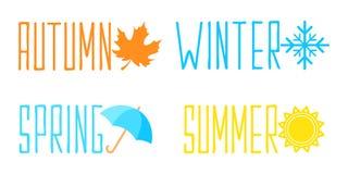 与字法的季节商标在五颜六色的平的样式设计 皇族释放例证