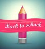 与字法的海报回到学校 现实铅笔,桃红色丝带 库存照片