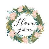 与字法- `我爱你`的浪漫桃红色牡丹花圈 传染媒介例证为华伦泰` s天 免版税库存图片