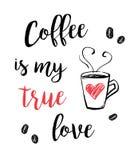 与字法T恤杉印刷品传染媒介的逗人喜爱的咖啡例证 库存例证
