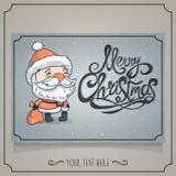 与字符圣诞老人的圣诞快乐卡片 免版税库存图片