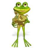 与存钱罐的青蛙 免版税库存照片