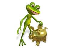 与存钱罐的青蛙 免版税库存图片