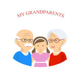 与孙的祖父母家庭 库存照片