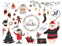 与季节性元素的圣诞节装饰收藏 免版税库存照片