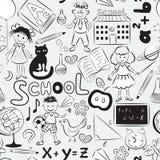 与学校主题的无缝的模式 免版税库存照片