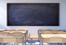 与学生书桌和椅子的空的教室内部 库存例证