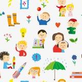 与孩子、玩具和活动的幼儿园无缝的样式 也corel凹道例证向量 皇族释放例证