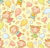 与孩子和气球的无缝的样式 库存例证