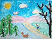 与孩子和狐狸的Witer风景 向量例证