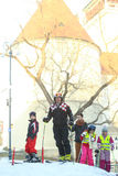 与孩子的伊维察Kostelic滑雪 图库摄影