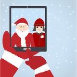 与孩子的圣诞老人selfie 免版税库存图片