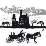 与孩子的城堡马和支架的 库存图片