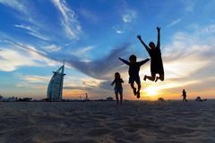 与孩子的旅行-迪拜 免版税库存图片
