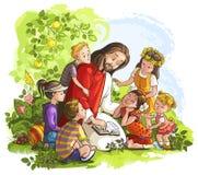 读与孩子的耶稣圣经 免版税图库摄影