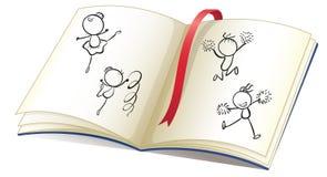 与孩子跳舞的丝带和图象的一本书 免版税库存图片
