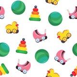 与孩子s的明亮的色的无缝的样式戏弄-婴儿车,球,金字塔,与轮子的鸭子在白色 图库摄影