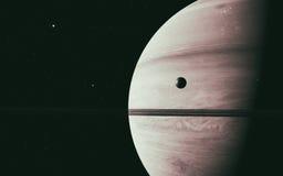 与它的卫星一起的行星土星在空间 库存图片