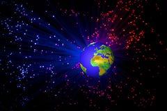 与宇宙背景光的地球 库存照片