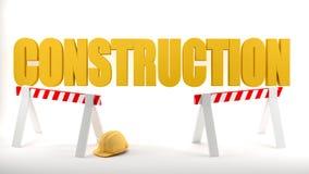 与安全帽和建筑障碍的建造场所商标在建造场所象征安全,白色背景 免版税库存图片