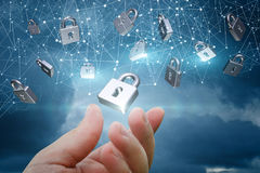 与安全锁的网络 免版税图库摄影