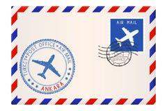 与安卡拉邮票的信封 与邮戳和邮票的国际邮件邮费 免版税库存图片
