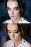 与完善的构成发烟性眼睛的美丽的女孩的面孔 免版税库存照片
