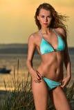 与完善的被晒黑的身体的魅力美好的性感的时髦的白肤金发的白种人少妇模型在海滩的蓝色泳装 库存照片