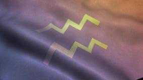 与宝瓶星座占星术标志的挥动的旗子 皇族释放例证