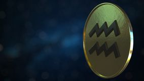 与宝瓶星座黄道带标志的金象征 E 库存例证