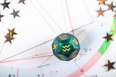 与宝瓶星座1月20日的黄道带标志的占星术模子- 2月18日 图库摄影