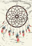 与宝石和羽毛的不可思议的标志Dreamcatcher 皇族释放例证